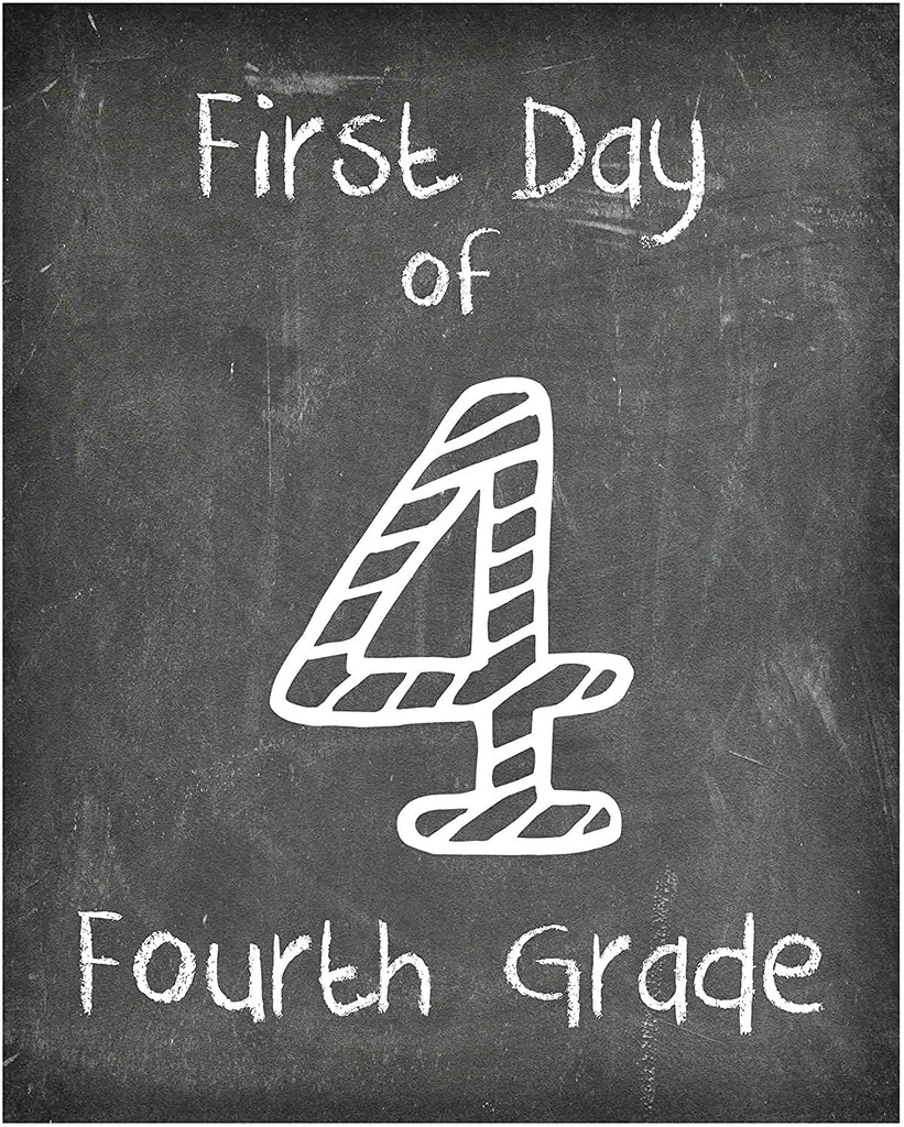 First Day of School Print, Set of 4 - 3rd grade, 4th grade, 5th grade, 6th grade, Reusable Chalkboard Photo Prop for Kids Back to School Sign for Photos, Frame Not Included (8x10, Set 2 - Style 1)