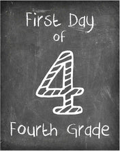 Load image into Gallery viewer, First Day of School Print, Set of 4 - 3rd grade, 4th grade, 5th grade, 6th grade, Reusable Chalkboard Photo Prop for Kids Back to School Sign for Photos, Frame Not Included (8x10, Set 2 - Style 1)