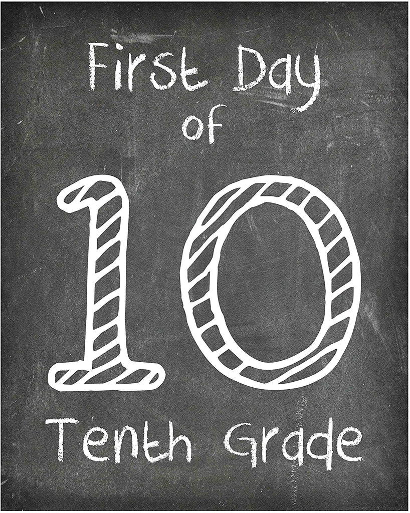 First Day of School Print, Reusable Chalkboard Photo Prop for Kids Back to School Sign for Photos, Frame Not Included 10th Grade (8x10, 10th Grade - Style 1)