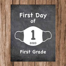 "Load image into Gallery viewer, First Day of School Art Print for 2020. Unframed Reusable Photo Prop for Kids and Parents Back to School Sign. Masked, zoomed and remote learning 8"" x 10"" (8"" x 10"" Chalk, 1st Grade)"