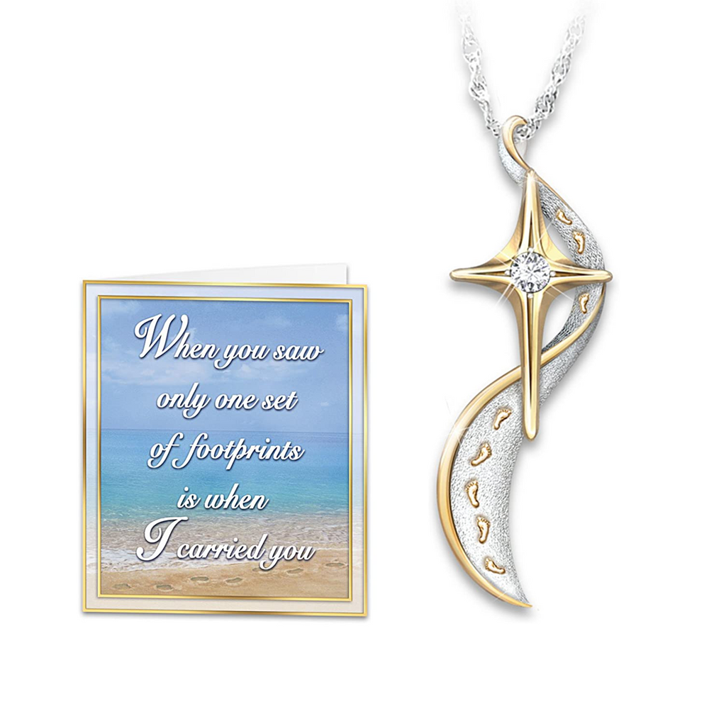 """Footprints In The Sand"" Cross Diamond  Necklace"