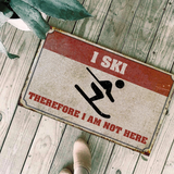 I SKI THEREFORE I AM NOT HERE DOORMAT