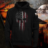 USA American Flag Skull Patriotic Men's Hoodie