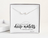 Silver Wave Necklace - Bible Verse