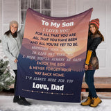 TO MY SON - LOVE DAD MESSAGE BLANKET