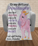To My Granddaughter Unicorn Blanket