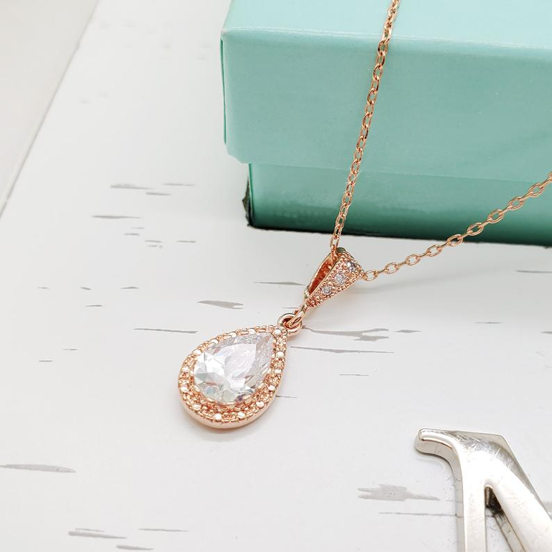 Rose Gold Teardrop Necklace