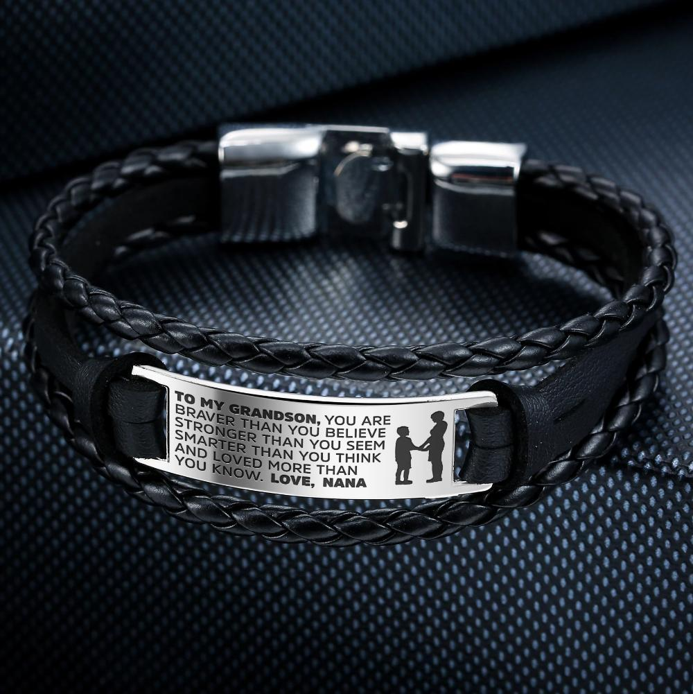 TO MY SON -STEEL& LEATHER STYLE BRACELET