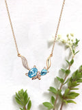 Double Fox Crystal Alloy Necklace