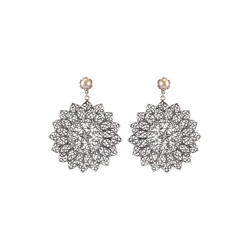 TULIP POST BIG FILIGREE MANDALA EARRINGS