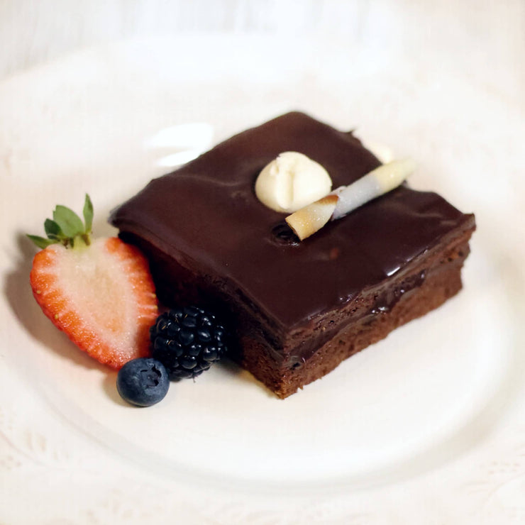 Geary Market - Flourless Swiss Chocolate Cake plated - prepared meal delivery and takeout Toronto