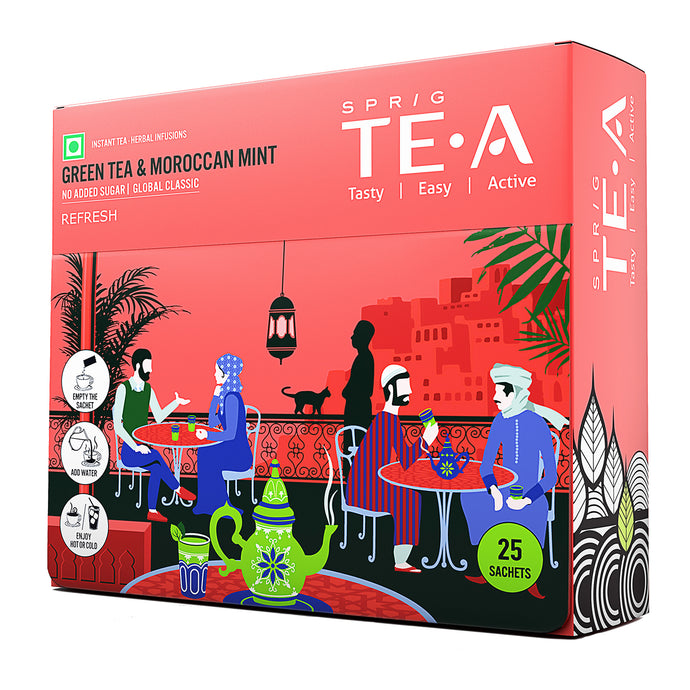 TE.A Green Tea & Moroccan Mint - Pack of 25, 15 g
