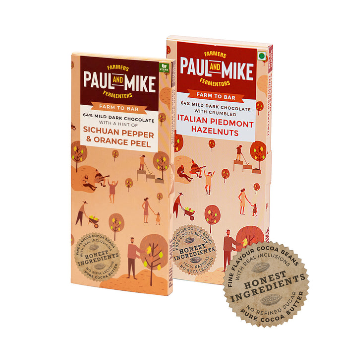 Paul And Mike Award Winners Chocolate Combo- Italian Piedmont Hazelnuts & Sichuan Pepper Orange Peel
