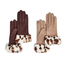 Load image into Gallery viewer, MICROSUEDE LEOPARD TRIM GLOVES