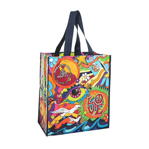 60S LIFE LOVE AND MUSIC RECYCLED TOTE