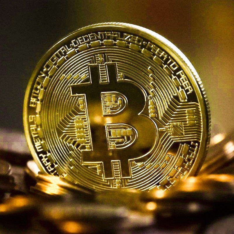 Bitcoin Coins Metal Gold Plated Souvenir Coins