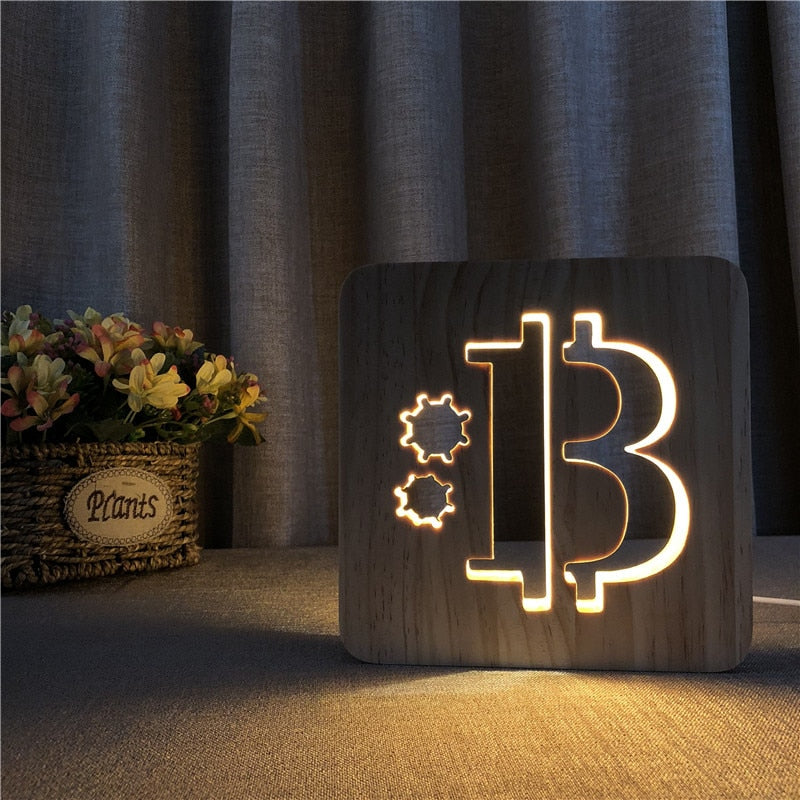 Bitcoin Shape Wooden 3D LED Lamp