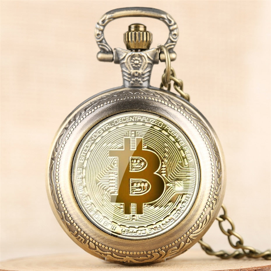 Exquisite Bitcoin Design Pocket Watchlace Chain