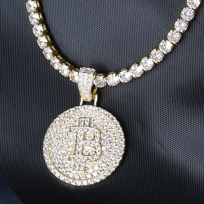 Bitcoin Iced out Tennis Chain Fashion Necklace