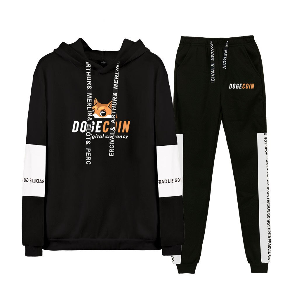 Dogecoin Hoodie sets Two-Pieces Suit