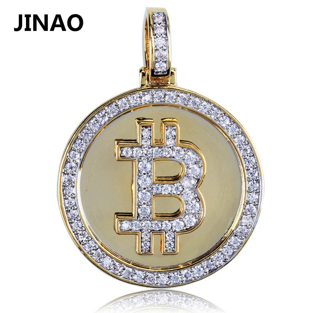 Hip Hop Iced Out Gold Color Plated Bitcoin Pendant Necklace