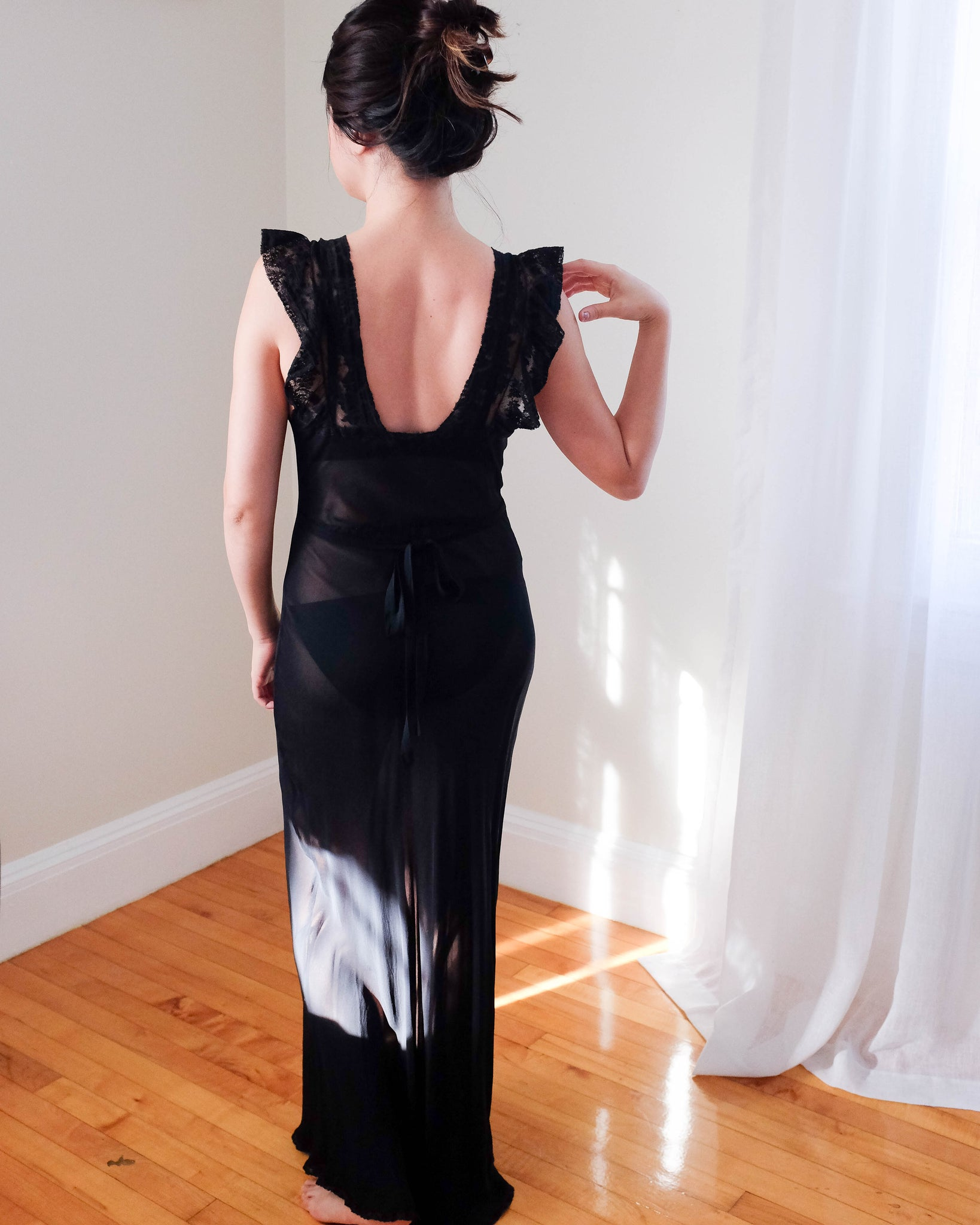 1930s Bias Cut Black Lace Gown