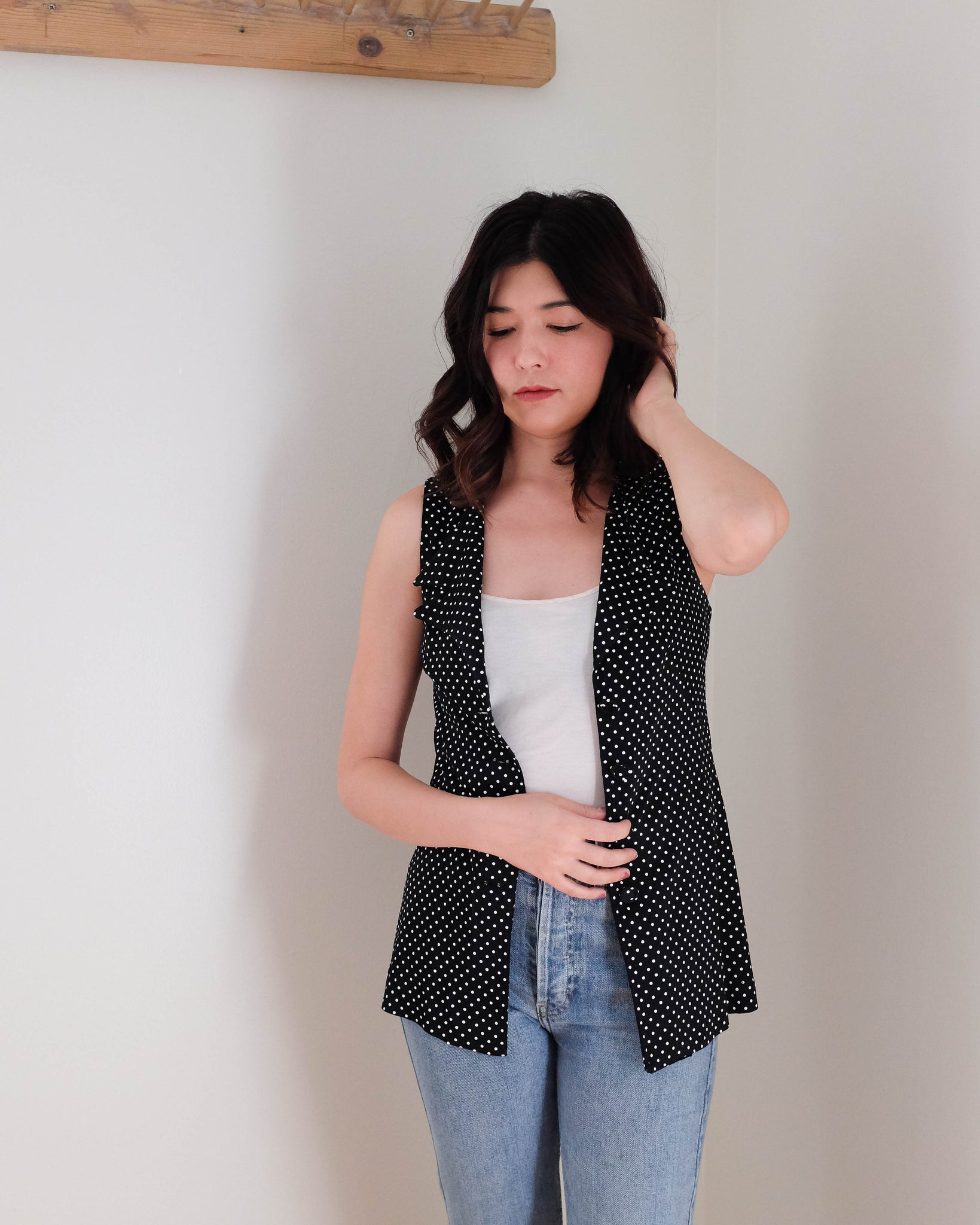 1970s Navy Dotted Vest