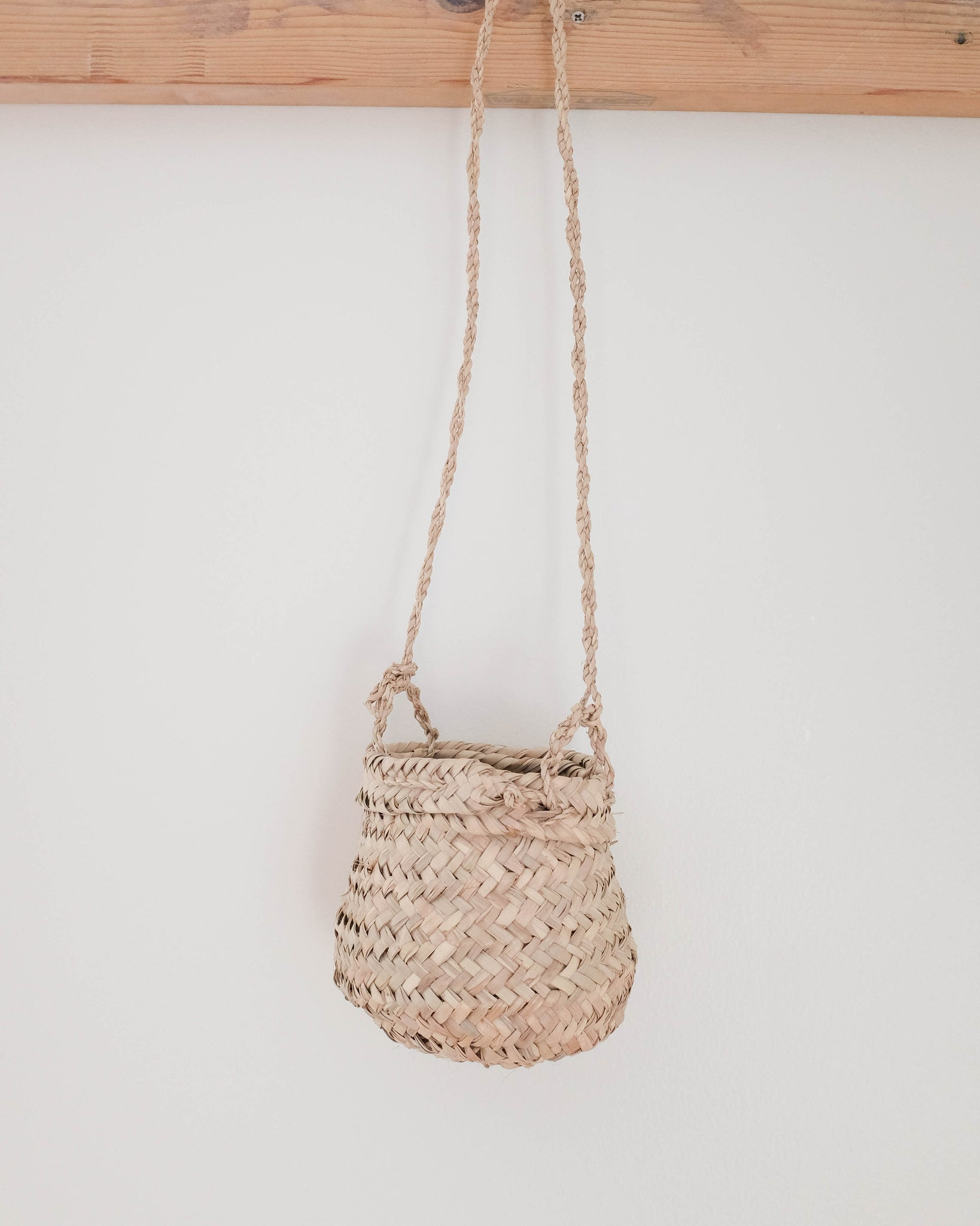 Woven Palm Leaf Hanging Planter