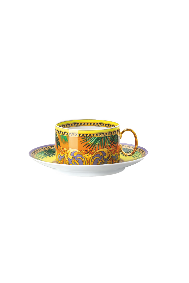 JUNGLE ANIMALIER YELLOW CUP & SAUCER