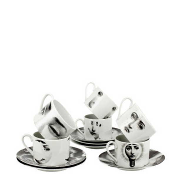 Set 6 tea cups Tema e Variazioni 2005 black/white