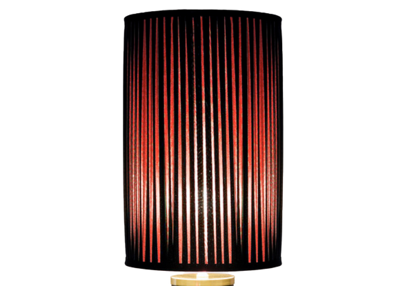 Cylindrical pleated lampshade black/red