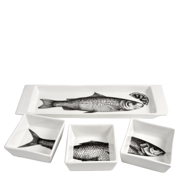 Appetizer set Pesci black/white