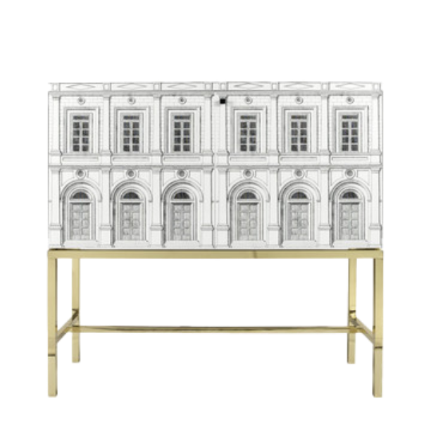 Raised sideboard Architettura white/black/iron brass base