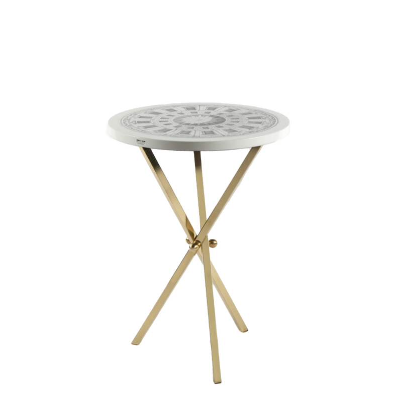 Table top Ø36 Cortile black/white - brass tripod base