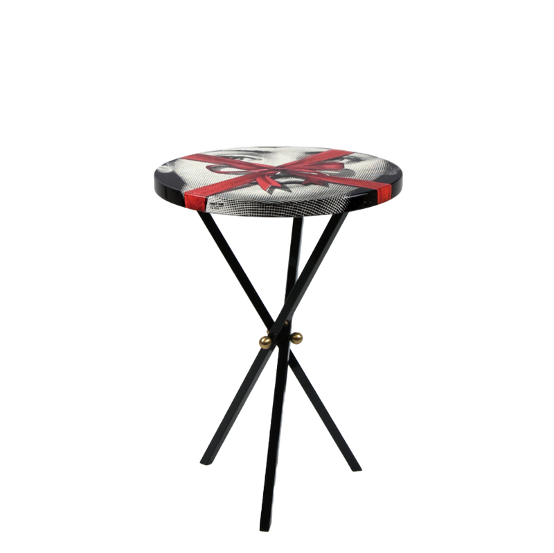 Table top Ø36 Gift Tema e Variazioni n°171 black/white/red - black tripod base