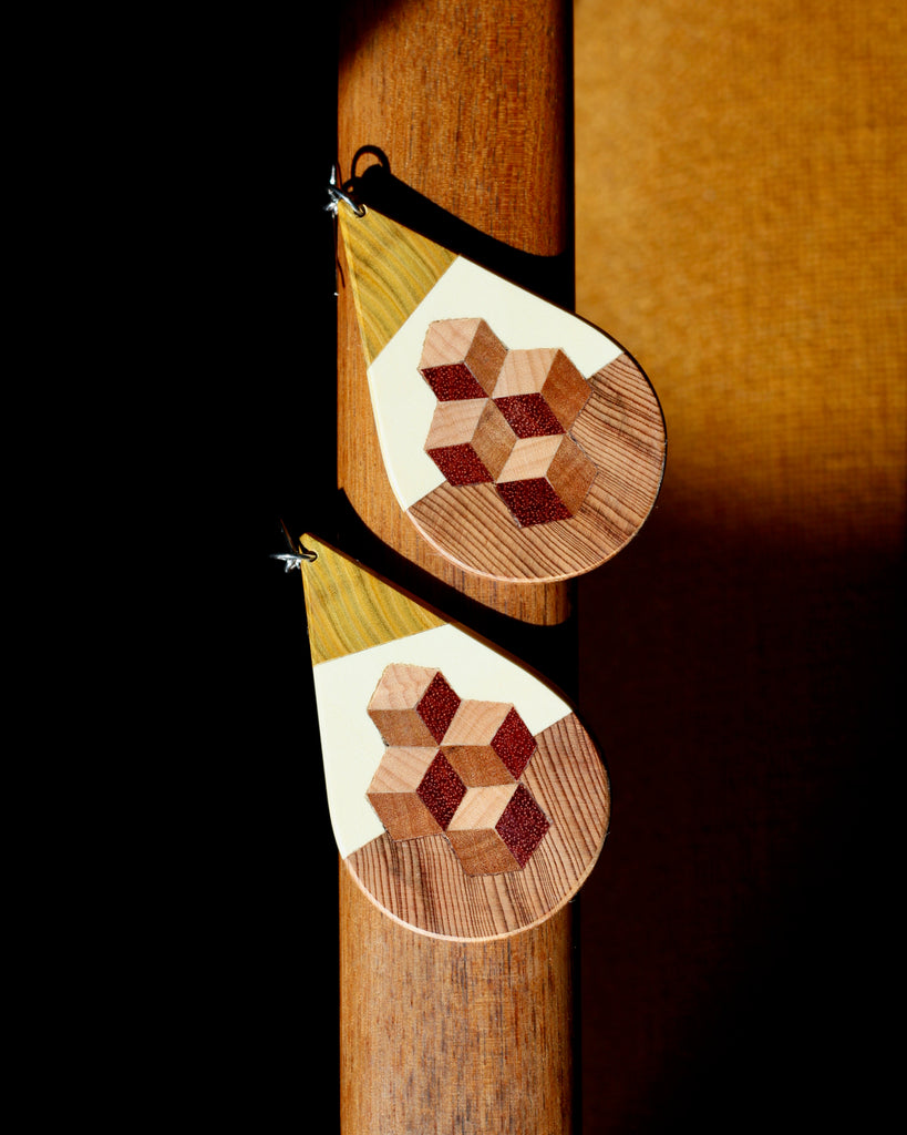 wood earrings with 3D detail