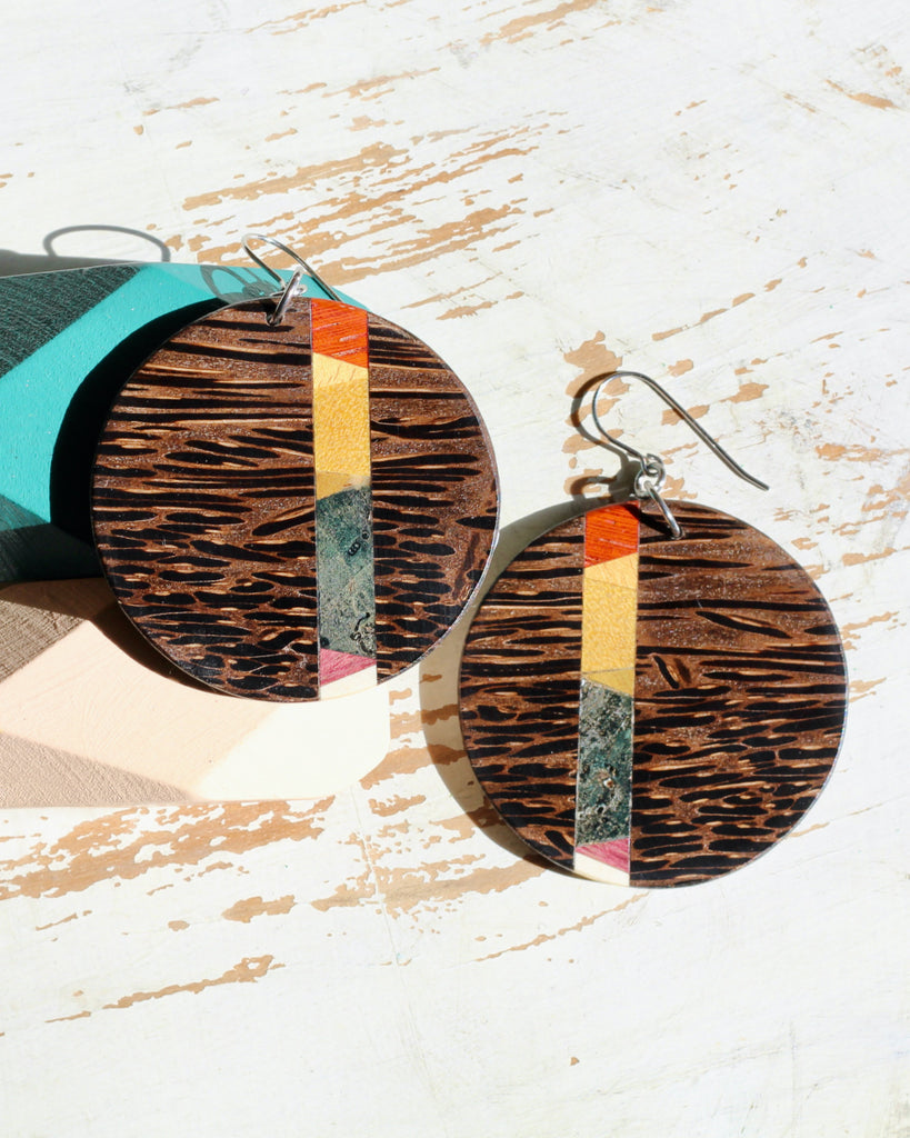 earrings with rainbow detail