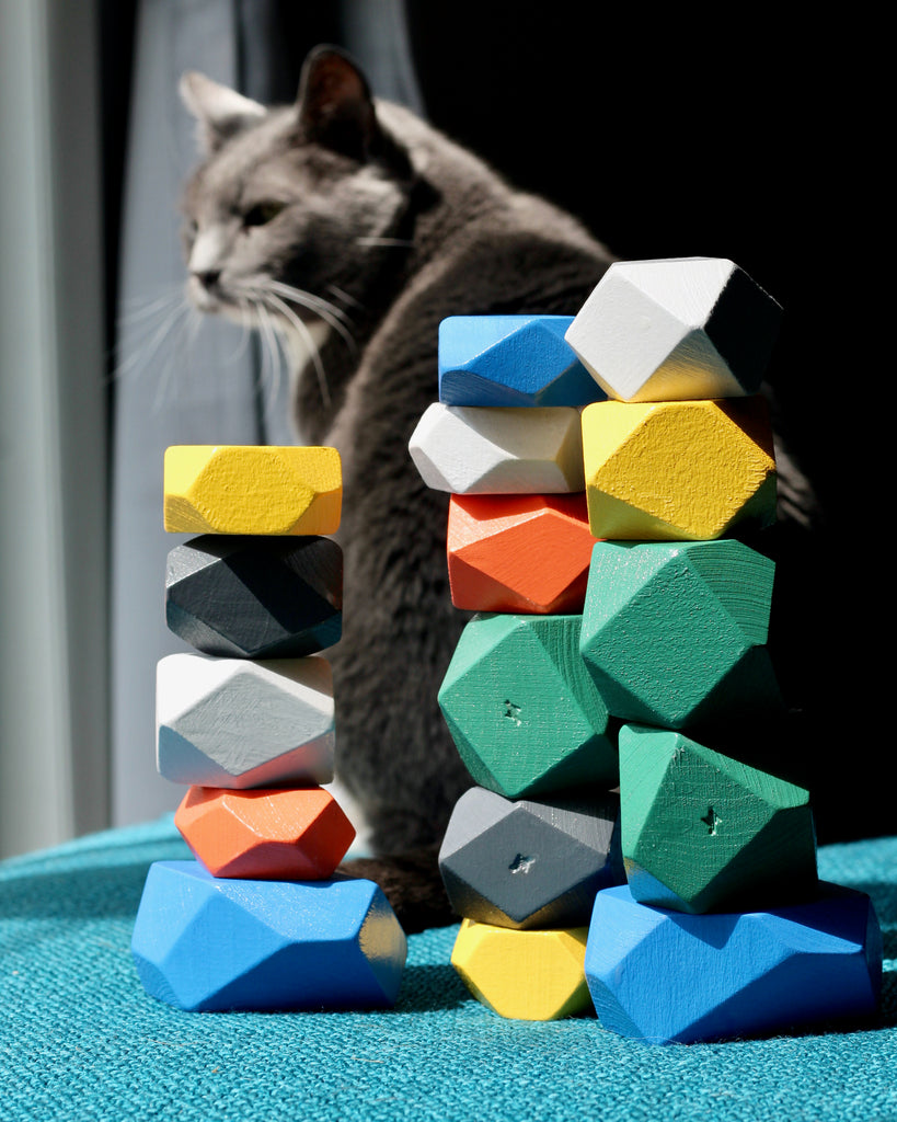 painted wood blocks with gray cat