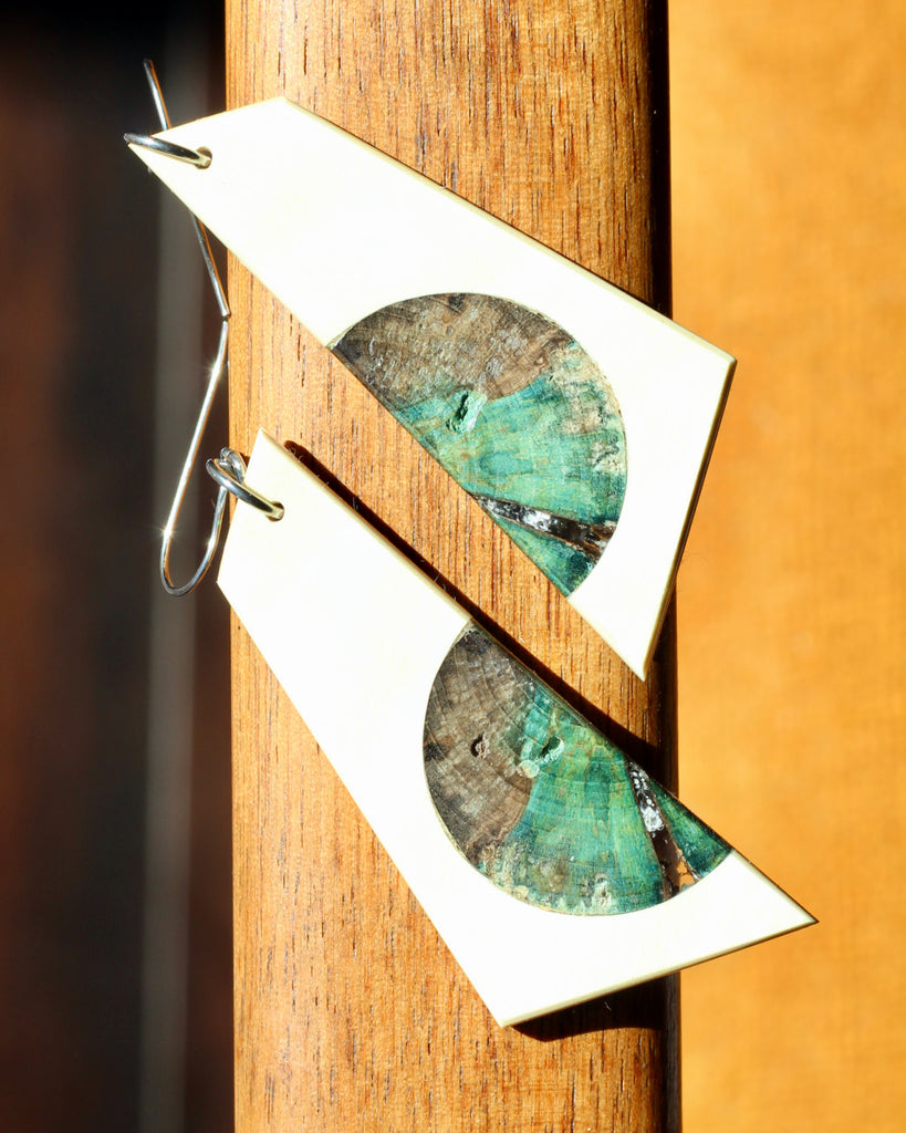 holly and sapphire spalted earrings