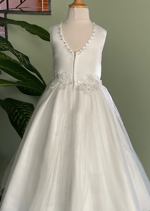 Satin and Tulle Gown with Flowers