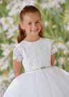 Lace and Tulle Short Sleeve Communion Dress