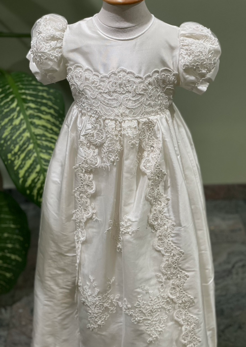 Sara's Exclusive! Lace and Silk Christening Gown
