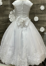 Sara's Exclusive! Corded Lace and Tulle Communion Dress with Border Lace