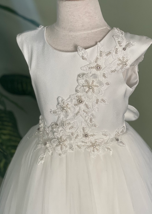 Lace Applique Crepe Flower Girl Dress