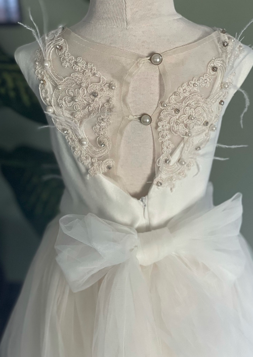 2 Tone Lace and Tulle Flower Girl Dress