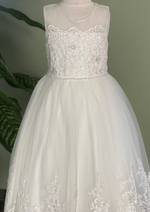 Lace and Tulle Flower Girl Dress With Sheer Yoke
