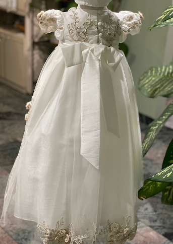 Contrast Flower Christening Gown
