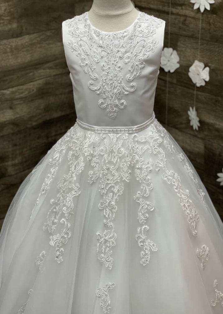 Scroll Lace Tulle Gown