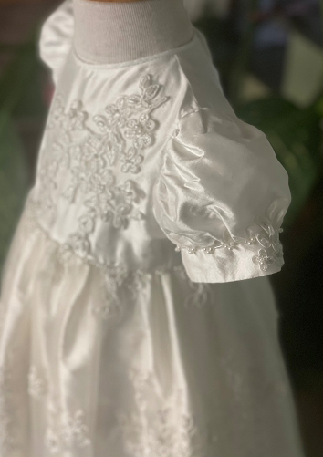 Corded Lace and Silk Christening Gown and Coat