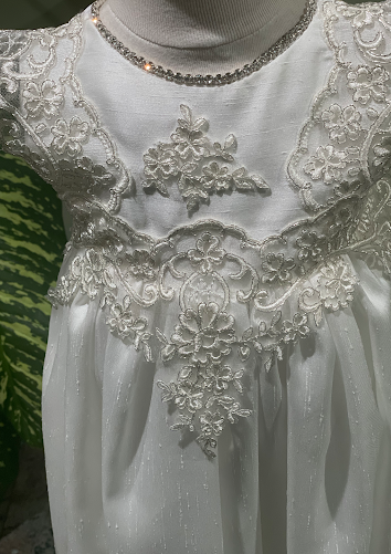 Sara's Exclusive! Piccolo Bacio Metallic Lace Christening